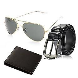 Random 11C Mens Belt, Wallet and Golden Aviator Sunglass Combo (Black)(9AVWLBT)