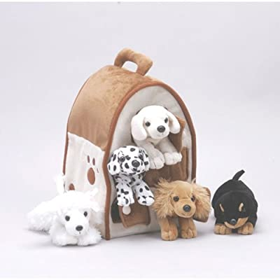 Plush Dog House -Five (5) Stuffed Animal Dogs (Dalmation, Yellow Lab, Rottweiler, Poodle, Cocker Spaniel) in Play Dog House Carrying House by Unipak Designs
