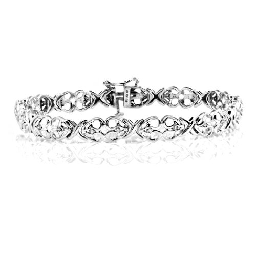 Jessica Simpson Silver Diamond Accented Heart Bracelet (I-J/I2-I3) Size : 7.5 inches
