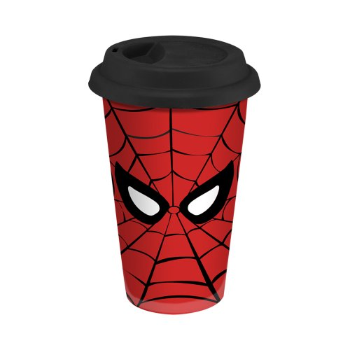 Vandor 26351 Marvel Spider-Man 12 Oz Double Wall Ceramic Travel Mug With Silicone Lid, Red And Black