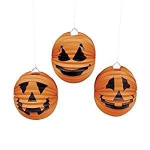 6x Halloween Kürbis Laterne Lampion 3 Motive Horrorparty Gruselparty Deko