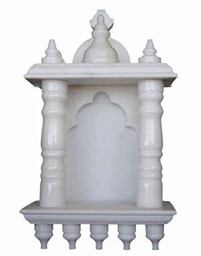 eShilp White Marble Home Temple Pooja Mandir (15.2 cm x 9.5 cm x 25.4 cm, White)