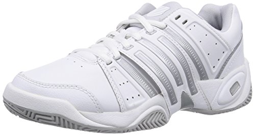 K-Swiss Performance KS TFW ACCOMPLISH LTR-WHITE/SILVER/GLCRGRAY-M, Scarpe da tennis donna, Bianco (Weiß (White/Silver/GlcrGray)), 41,5