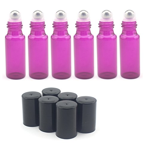 Mavogel 5ml Glass Roll on Bottles--Set of 6 with With Metal Ball for Essential Oil,Aromatherapy,Perfumes and Lip Balms,Purple (5ml Glass Roller Bottles compare prices)