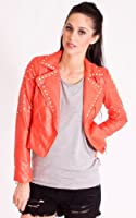 ikrush womens girls new royal bright blue Bright Blue Faux Leather Crystal Studded Jacket
