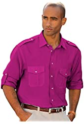 Paul Fredrick Men's 100% Linen Straight Collar Sport Shirt with Epaulets