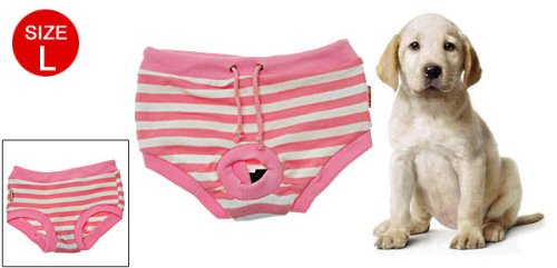 Jardin Pink White Stripes Female Pet Dog Sanitary Clothes Pant Bitch Diaper, Large