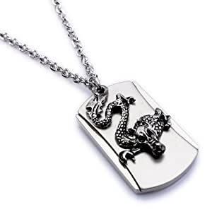 K Mega Jewelry Army Style Cool Silver Dragon Beauty Dog Tag Mens Pendant Necklace(With Gift Bag)
