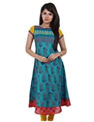 Sea Blue Anarkali Kurta With Embrodried Yoke