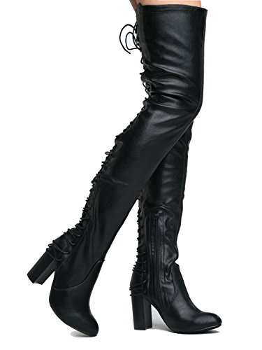 Gorgeous lace up Over the Knee Boot Ð Vegan Suede Thigh High Ð Trendy High Heel Shoe - Koko by J. Adams