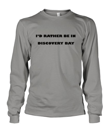 I'D Rather Be In Discovery Bay Jamaica City Long Sleeve T-Shirt Tee Top Oxford Gray M