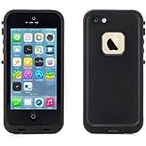 Schutzhülle für iPhone 5;iPhone 5S Wasserdicht Hülle Case Bumper Vier Schutzarten Plastik schwarz AP533-01