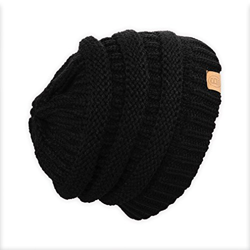 Basico Unisex Warm Chunky Soft Stretch Cable Knit Beanie Cap Hat(A-Black)