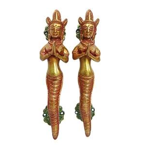 Handmade Brass Door Handle Mermaid Design Metal Figure Indian Decorative Art by IBA
