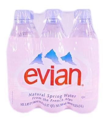 Evian Natural Spring Water, 6 Pack Of 1/2 Liter Bottles, 101.4 fl oz