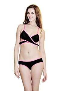 Sexy Lingerie Bikini Set X Bra Underwear Panties Pink & Black by Crystalcity-6662