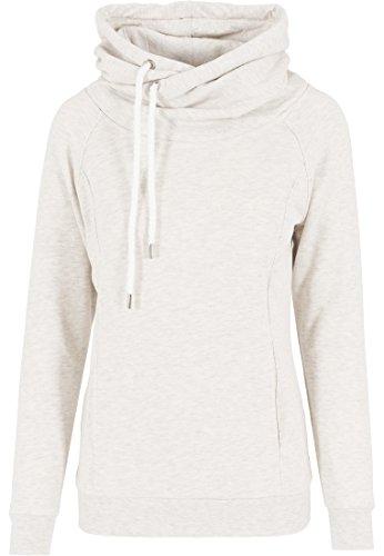 Urban Classics - Pullover Raglan High Neck Hoody, Felpa Donna, Multicolore (Offwhite Melange), X-Large (Taglia Produttore: X-Large)