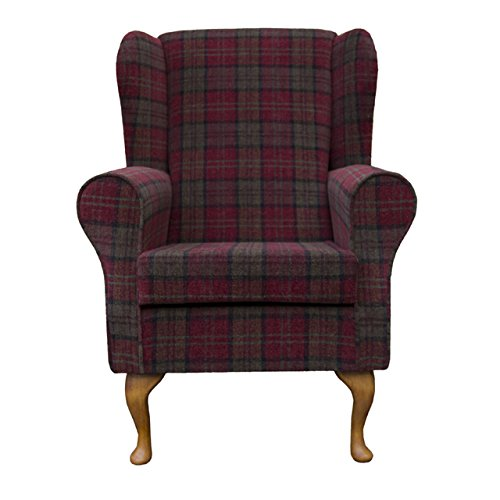 Small Westoe Wingback Armchair in a Red & Green Lana tartan Fabric with Hardwood Legs