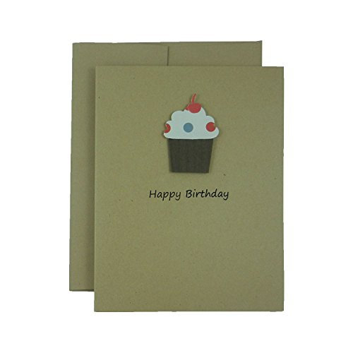 Cupcake Birthday Note Card Pack Kraft Handmade Happy Birthday Greeting Cards with Blank Inside with Envelopes