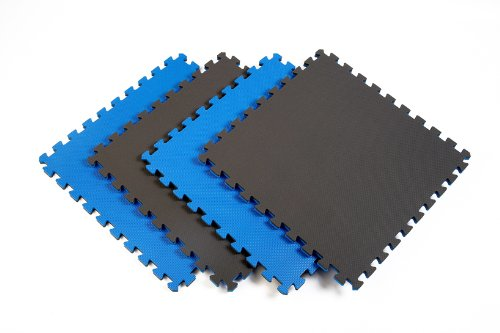 Norsk-Stor 240175 Reversible Recyclamat Sport Multi-Purpose Foam Flooring, Blue/Gray, 4-Pack