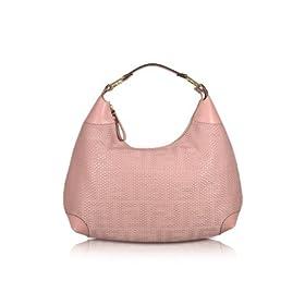 Fendi Pink Woven Leather Logo Hobo Bag