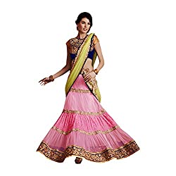 Designer Pink Green Net Satin Embroidered Lehenga choli