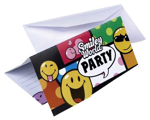 Amscan-551964-6-Cartes-dInvitation-et-Enveloppes-Smiley-Comic