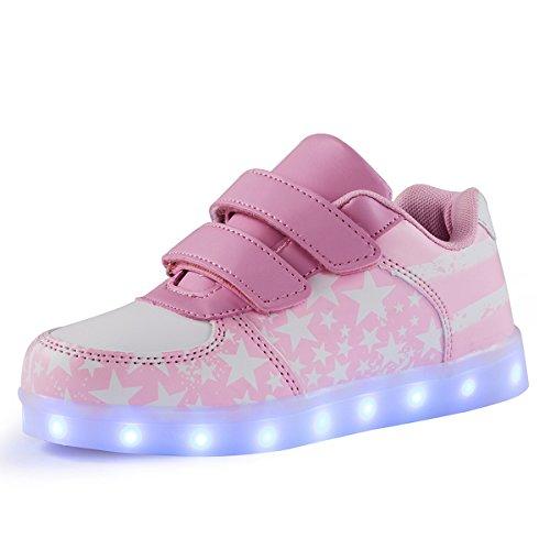 AFFINEST Bambini Unisex Scarpe Led Luminosi Sneakers Con Le Luci Accendono Scarpe Sportive(rosa,26)