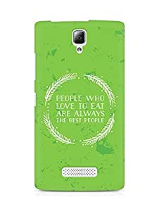 AMEZ people who love to eat are always the best people Back Cover For Lenovo A2010