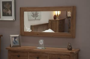 Yabbyou Vintage Solid Oak Large Wall Mirror 120cm by 60cm Bevelled Glass