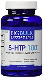 5-HTP 100 Naturally Inreases Serotonin Levels New You Bulk Vitamins 5 Hydroxytryptophan 5 HTP 100mg 180 Capsules 1 Bottle
