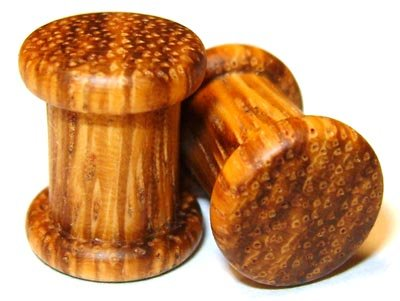 44mm Organic Zebrawood Double Top Hat Exotic Wood Plugs