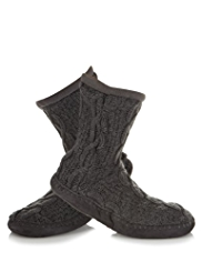 Fleece Lined Cable Knit Bootie Slipper Socks