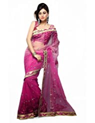 De Marca Women Purple Net Casual Saree - B00JH9YJ8O