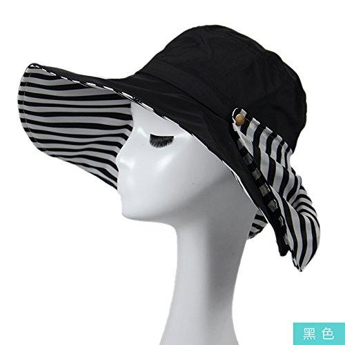 Dngy*Sun cappelli Cappelli di svago, spiaggia invernale cap visiera UV grande piscina all'aperto lungo il cappuccio di protezione solare , nero