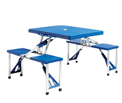 Read About Collapsible Folding High Impact Plastic Picnic Table with Comfortable Chairs Built-in