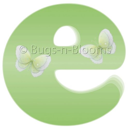 """e"" Green Butterfly Alphabet Letter Name Wall Sticker - baby nursery girls room decor baby nursery girls room decor decoration decorations mural stickers bedroom"