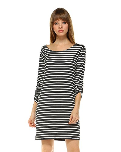 Elain & J Striped 3/4 Tabbed Sleeve Midi T Shirt Dress Large Charcoal White