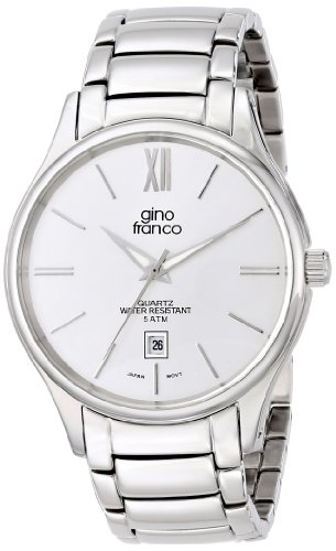 gino franco Men's 943WT Round Stainless Steel Bracelet Watch