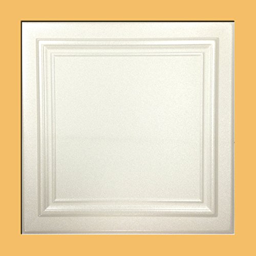 Zeta White (Foam) Ceiling Tile - Decorative Ceiling Tile Easy Glue up DIY
