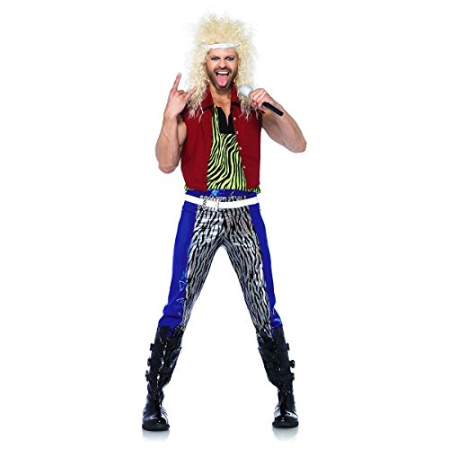 Leg Avenue Men's 5 Piece 80's Rock God Costume in three sizes.