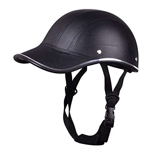 LianLe Half Face Stripe Helmet Motorcycle Helmet ABS Leather Baseball Cap
