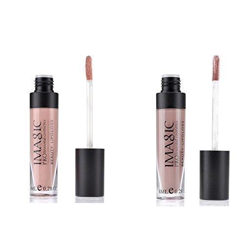 Ayliss® IMAGIC Rouge a Lèvres Gloss Matte Waterproof Longue Durée Effet Velours 2 Couleurs Lip (No.1+No.3)