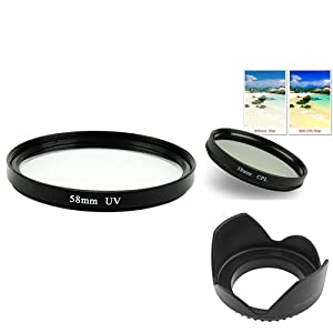 eForCity 58mm CLP + UV Lens Filter+Hood Compatible with Canon EOS 18-55mm Lens