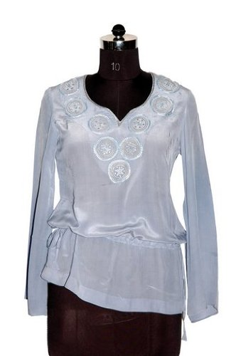 ladies / womens pure crepe blouse / top with machine embroidery