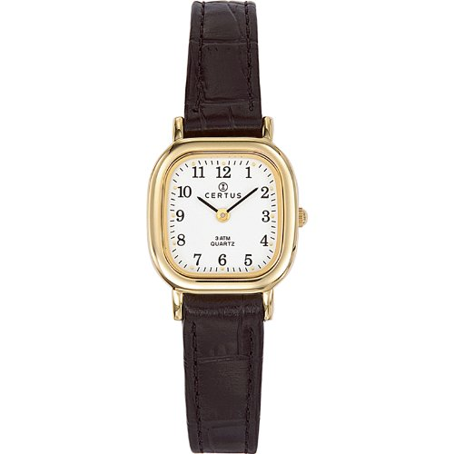 Certus 646519 - Ladies Watch - Analogue Quartz - White Dial - Black Leather Strap