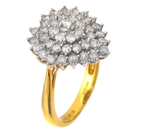 18ct Yellow Gold 1ct Heart Shaped Diamond Cluster Ring - Size L