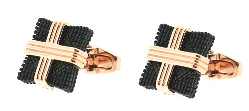Square Mile Black Plated Cufflinks with Rose Gold Wire Design