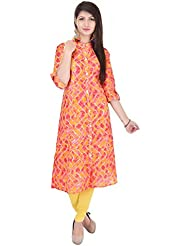 Bright Cotton Kurtis For Women (Cotton , Green , Multicolor , Banded Collar ) BCRMF-5139-V