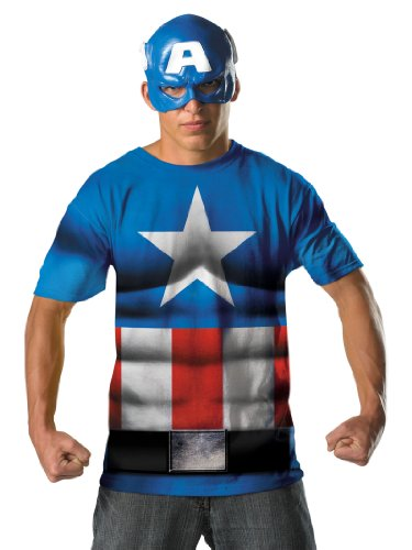Superhero Captian America Costume T-Shirt and Mask Theatrical Mens Costume